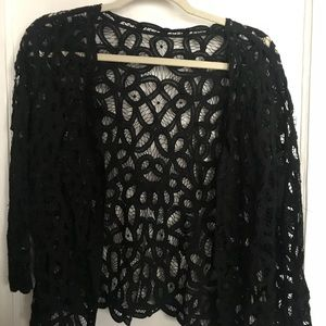 Sweaters - Black large lace coverlet